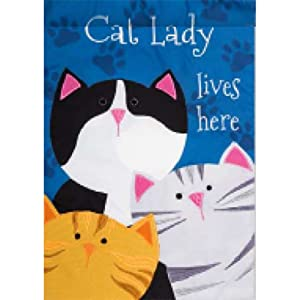 Cat Lady - Garden Size, Emboidered Applique Style, Double Sided Decorative Flag - Approx. 12 Inch X 18 Inch Copyright, Licensed and Trademarked by Custom Decor Inc.