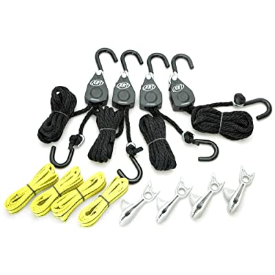 PROGRIP 921200 Cargo Tie Down and Transport Bundle: (4) XRT Rope Lock Tie Down, (4) Shark Clip with Screw for Tarp, (4) Tie Down Extension Loops: Automotive