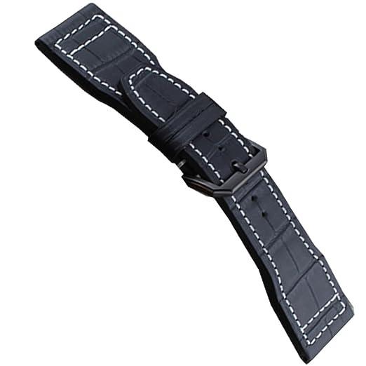 22 mm IWC Negro Correa reloj Band IWC Piloto Negro Hebilla de grano de piel de cocodrilo: Amazon.es: Relojes