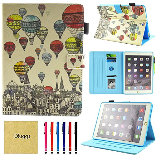 Price comparison product image Dluggs Case for iPad 9.7 2018 / 2017,  iPad Air 2 Case,  iPad Air Case,  Slim Fit Leather Folio Smart Stand Cover with Auto Sleep / Wake for Apple Apple iPad 6th / 5th Gen,  iPad Air 1 / 2,  Ballons