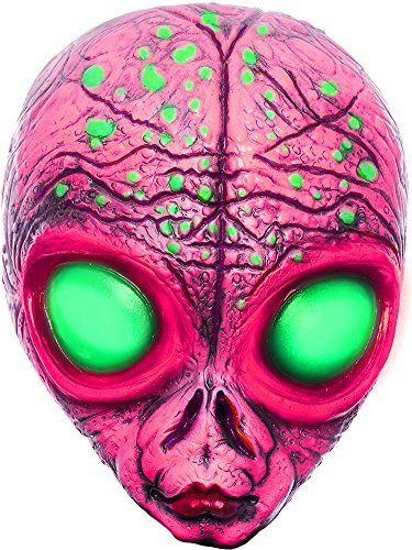 Charades Men's Alien Mask Costume, Fuchsia, One -