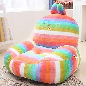 Kids Mini Lounger Sofa,Bean Bag Chair,Novelty Gift Rainbow Rabbit PP Cotton Cute Cartoon Washable 21x17