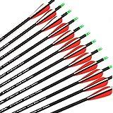 """Ruixunte Archery Recurve/Compound Bow 28"""" 7.8mm Spine 500 Carbon Arrows 12pcs"""