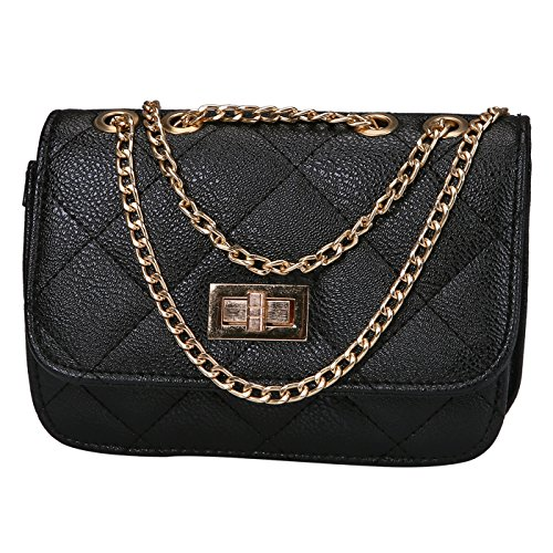 HDE Women's Small Crossbody Handbag Purse Bag with Chain Shoulder Strap (Black)