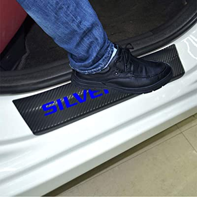 SENYAZON Car Entry Guard Sticker for Chevrolet Silverado Decoration Scuff Plate Carbon Fibre Vinyl Sticker Car Styling Accessories (Blue): Automotive