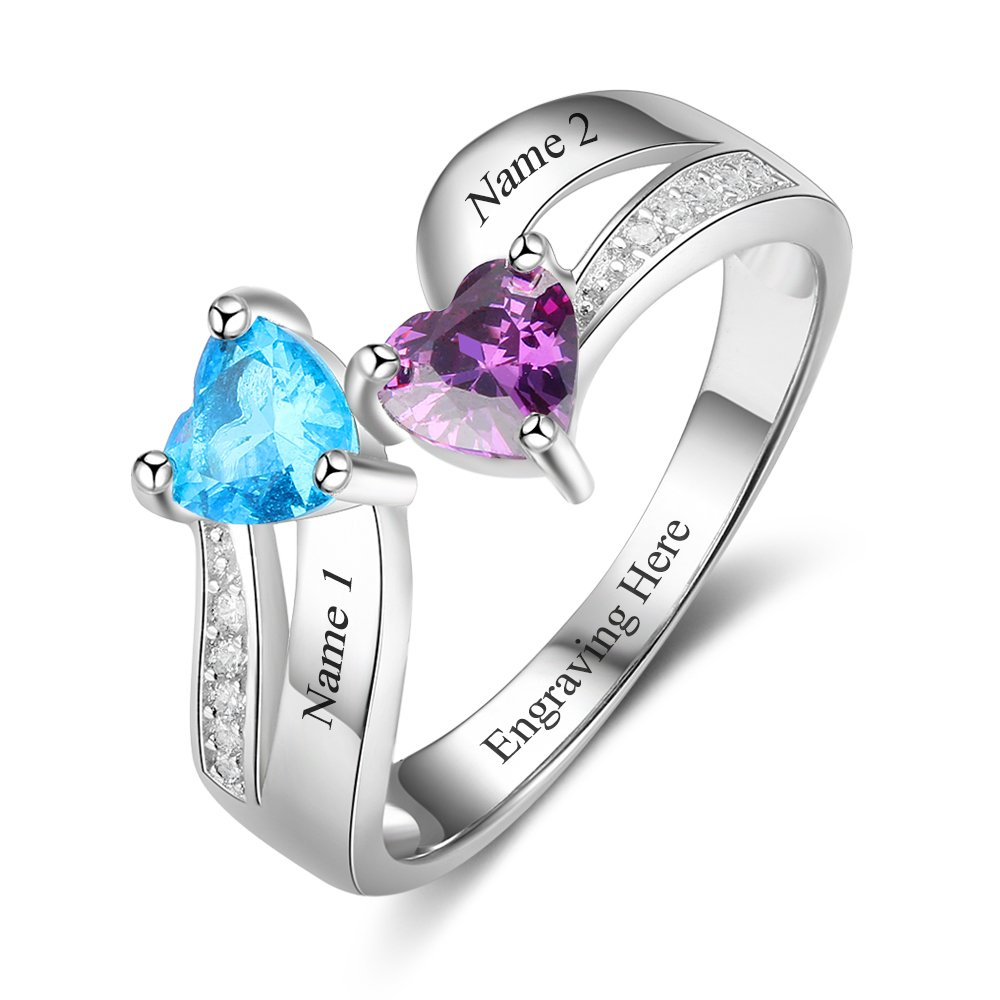 Love Jewelry Personalized Mother Daughter Rings 2 Heart Simulated Birthstones Custom Women Promise Rings Her Lovejewelry RI103266