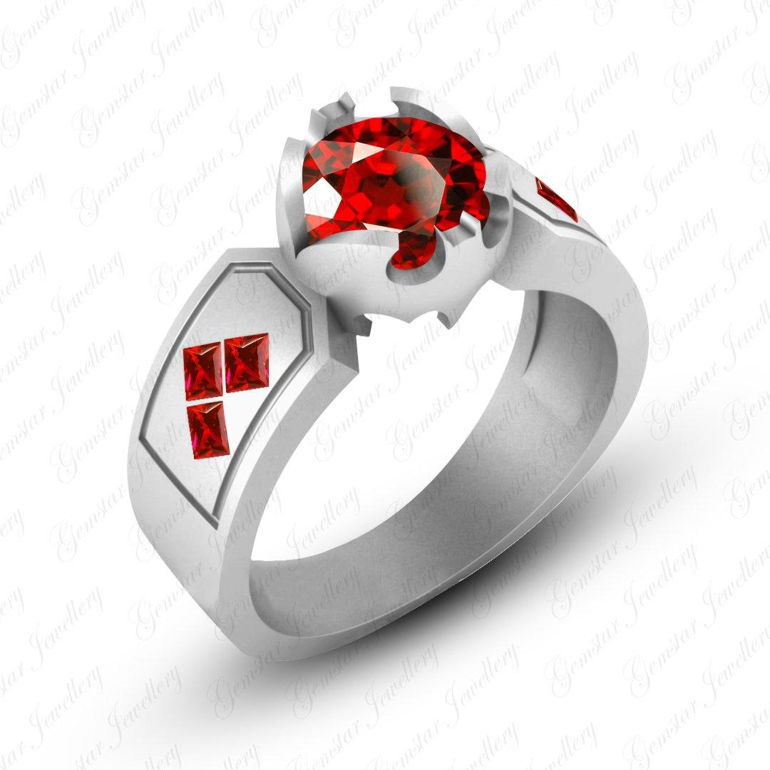Gemstar Jewellery Harley Quinn Engagement Ring Round & Princess Cut Red Garnet 18K White Gold Finish
