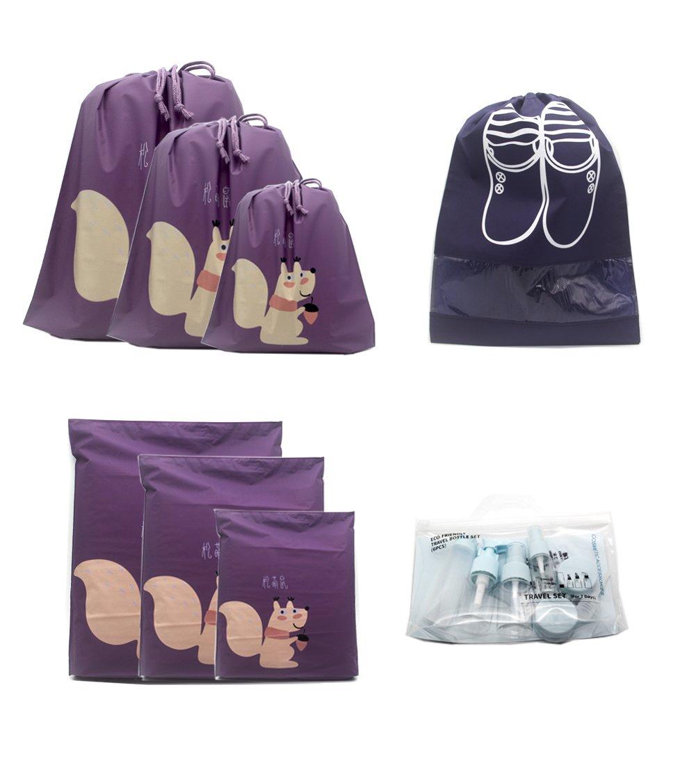 Travel Set, Purple Shoe Bag,Travel Bottles Set 8 Set Travel Luggage Organizers Bag