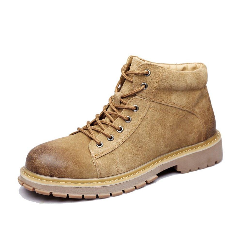 Zapatos de Hombre con Cordones de Cuero Genuino Botines Martin Tobilleros con tacón Alto para Caballeros 6.5 UK Marrón