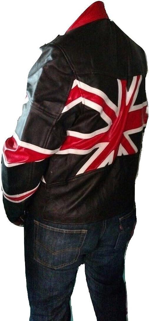 Bestzo Mens Brando Union Jack Motorcycle Biker Real Leather Jacket