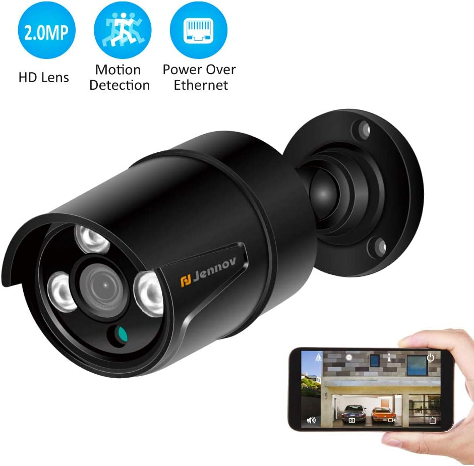 Jennov HD 1080P POE IP Security Camera Outdoor Home Surveillance Video CCTV Camera with 3.6mm Lens IR-Cut Night Vision Free Remote View App Motion Detection IP66 Weatherproof Black