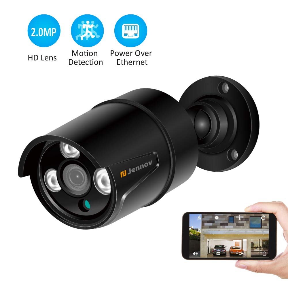 Jennov HD 1080P POE IP Security Camera Outdoor Home Surveillance Video CCTV Camera with 3.6mm Lens IR-Cut Night Vision Free Remote View App Motion Detection IP66 Weatherproof(Black) by Jennov