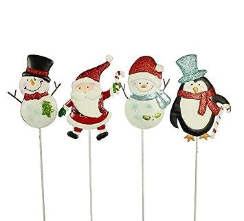Gartenstecker Weihnachten.Haac Gartenstecker Weihnachten 61 Cm Mit Glittern Und Erdspieß