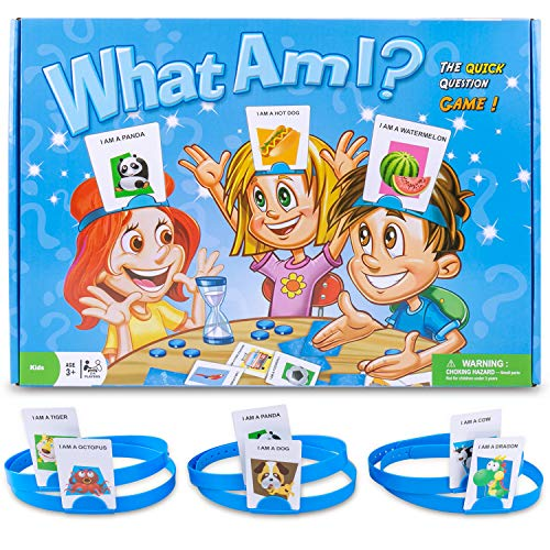 HedBanz Game, Gvoo Updated Edition What AM I Exclusive Guessing HedBanz Card Games Halloween Christmas Holiday Party Bundle For Kids Friends and -