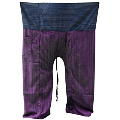 2 Tone Thai Fisherman Pants Yoga Trousers Free Size Cotton Blue and Purple