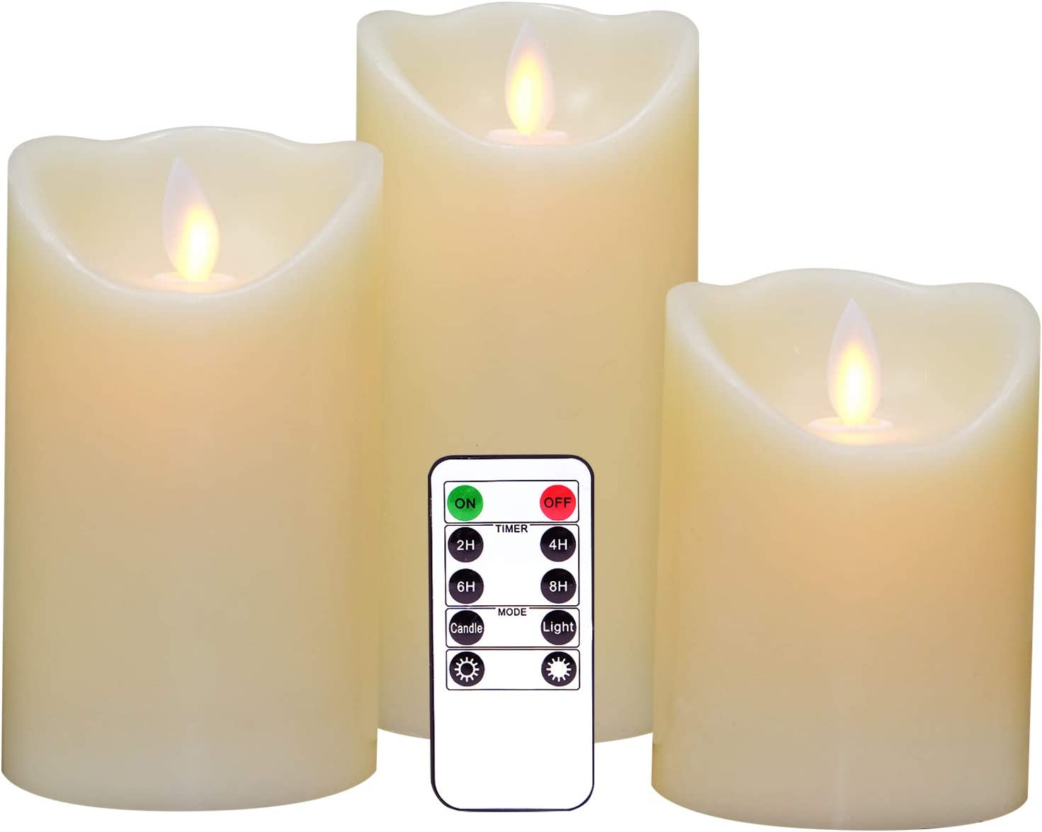 """Eldnacele Flameless Candles Pillar Flickering Dancing Flame Battery Operated LED Candles Warm White Set of 3(H4""""5""""6""""X D 3"""") with Moving Wick, Real Wax with Remote and Timer for Parties Home Decoration"""