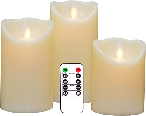 Eldnacele Flameless Candles Pillar Flickering Dancing Flame Battery Operated LED Candles Warm White Set of 3 H4 5 6 X D 3