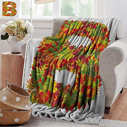 XavieraDoherty Printed Blanket,Letter B,Seasonal Leaves Fall Color Alphabet Capitalized B Symbol Second Letter, Vermilion Yellow Green,300GSM,Super Soft and Warm,Durable Throw Blanket 70