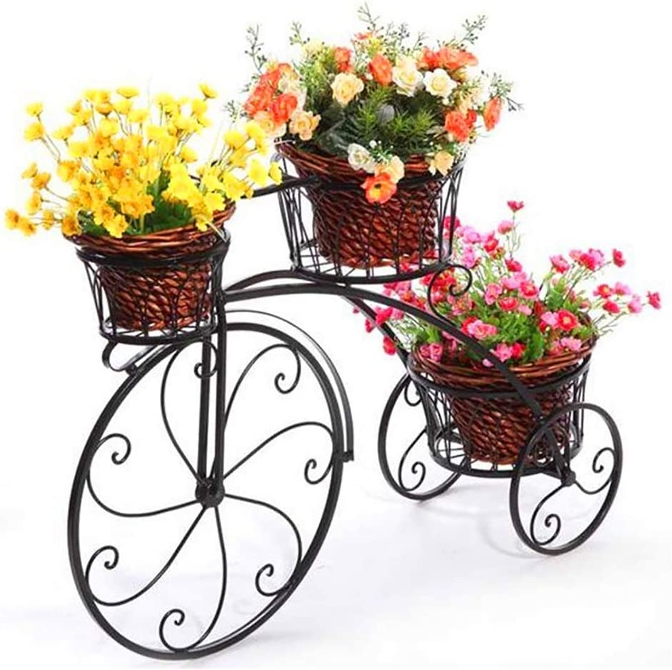 YKJL Soporte de Flores de Metal Soporte para Plantas Decorativas para Bicicleta Jardinera de Hierro Forjado Sala de Estar Jardín Terraza Veranda Interior Exterior- A