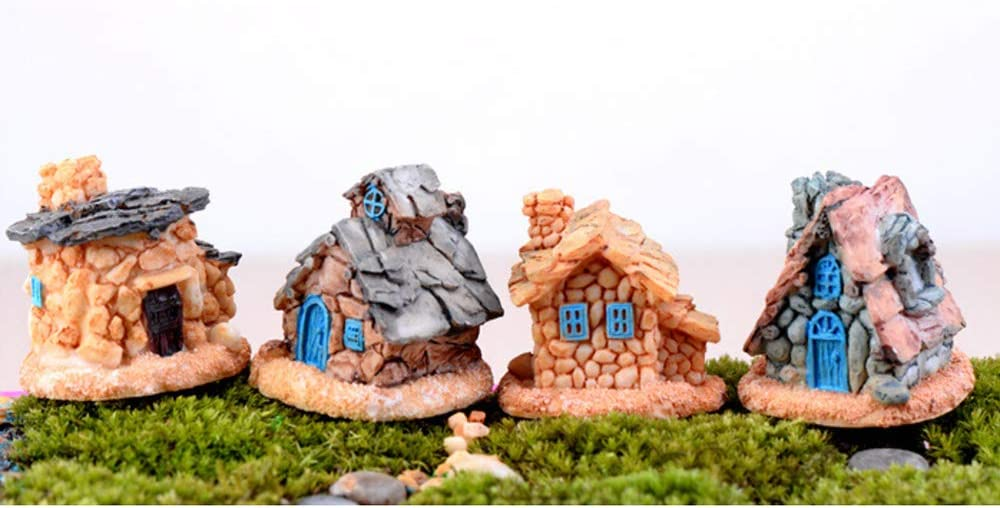 Beauy Girl 4 Pcs Miniature Fairy Garden Stone House, Resin Village House Fairy Garden Kits Figurines, Mini Fairy Cottage House for Terrarium Dollhouse Decor Outdoor Decorations, Plant Pot Micro Land