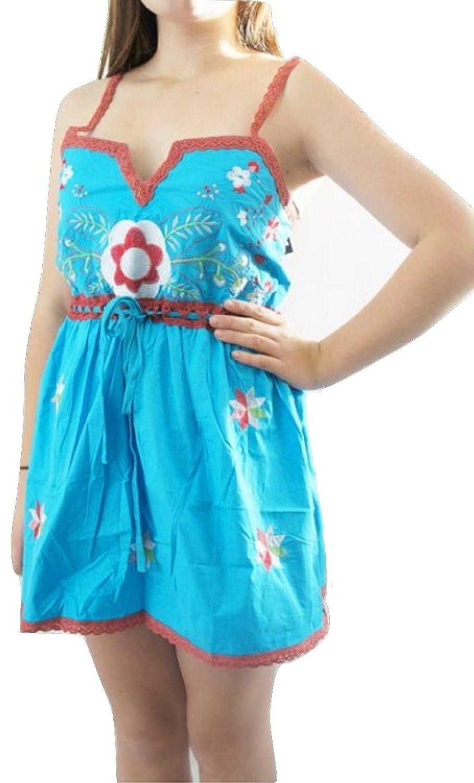 TopshopDamen Kleid, Geblümt Blau Blue & Red Floral
