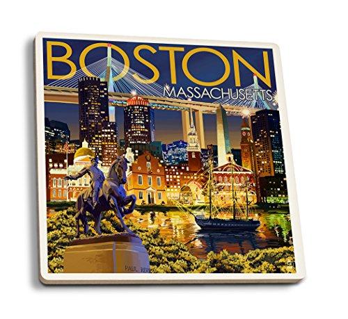Lantern Press Boston, Massachusetts - Skyline at Night (Set of 4 Ceramic Coasters - Cork-Backed, Absorbent) ()