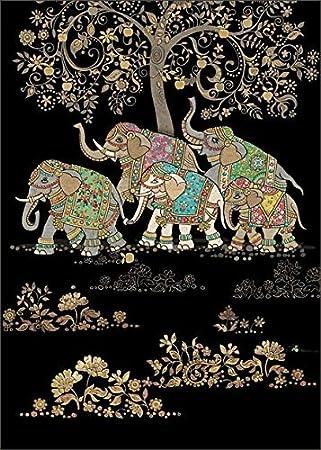 Blank Birthday Greeting Card BA1247 Five Elephants