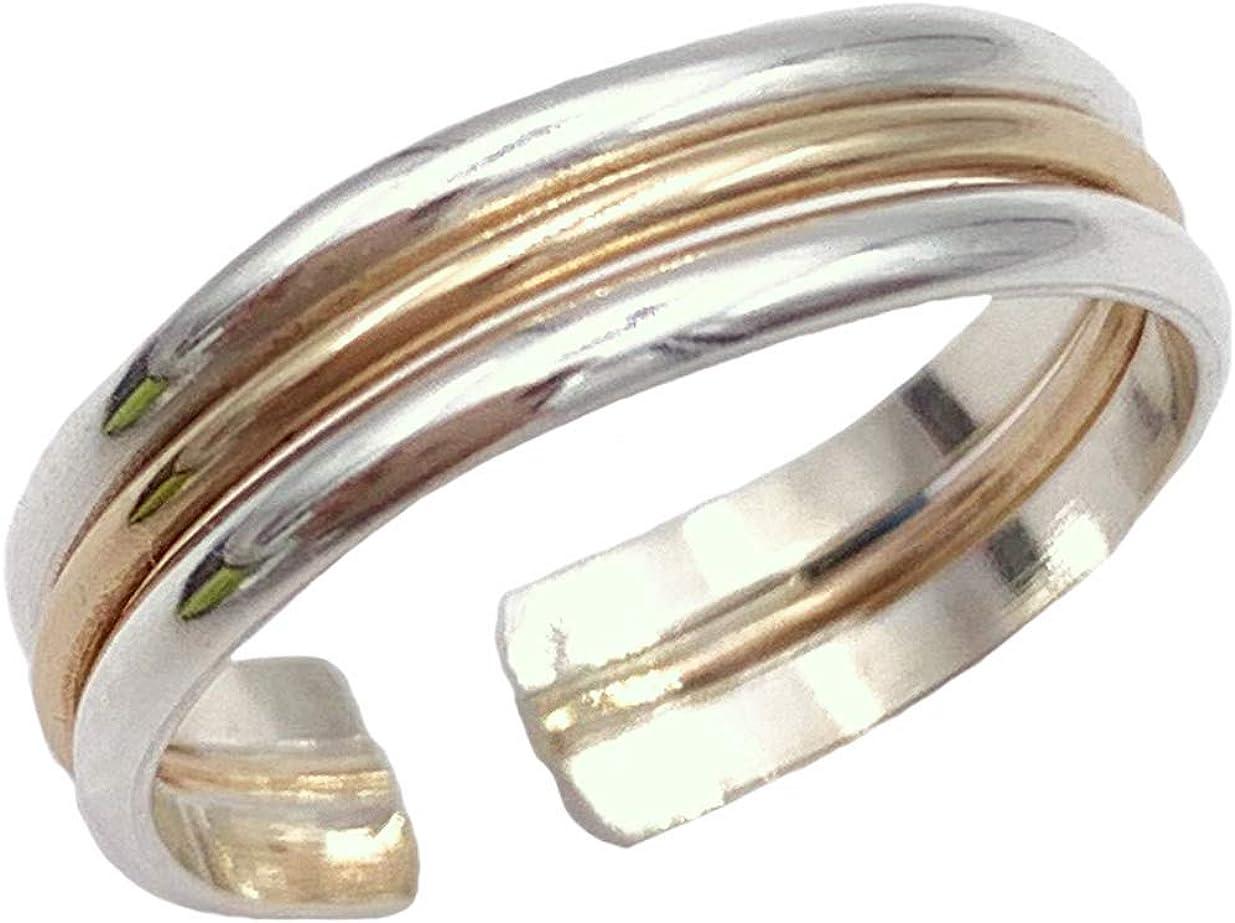 Toe Ring | Triple Stack .925 Sterling & 14K Gold Fill | Adjustable Ring for Foot Or Midi for Women, Girls, Or Men