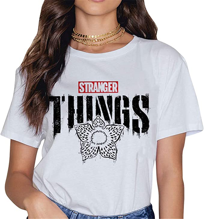 Camisetas Stranger Things Mujer, Camisetas Stranger Things Niña Retro tee Ringer T Shirt Manga Corta Abecedario Impresión T-Shirt Regalo Camisa Verano Camisetas y Tops: Amazon.es: Ropa y accesorios