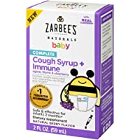 Zarbee's Naturals Complete Baby Cough Syrup + Immune with Agave, Thyme & Elderberry, 2 Ounce Bottle
