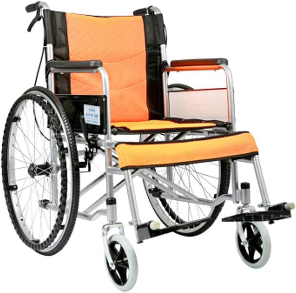 Antiguo andador plegable con mango ajustable, silla de ruedas manual, silla de ruedas ligera y vieja silla de ruedas de excursionistas, plegable de color naranja.