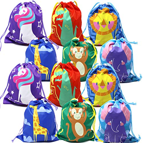 (JOYIN 12 Pack Party Favor Goodie Treat Gift Drawstring Bag Pouch in 6 Designs for Kids Boys Girls Birthday)