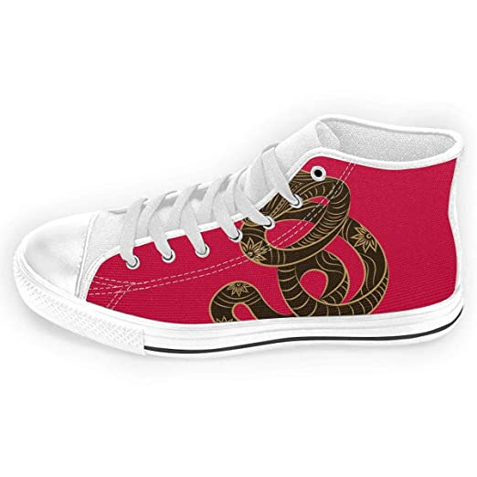 7b8089da24796 Amazon.com: Red Garter Snake Unisex Casual Canvas Shoes Lace Up ...