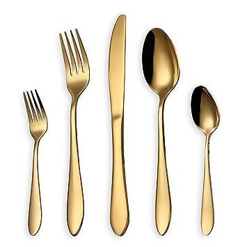 HOMQUEN Juego de cubiertos, juego de cubiertos de oro, servicio de juego de acero inoxidable para 6 personas, cubiertos de comedor de 30 piezas: Amazon.es: ...