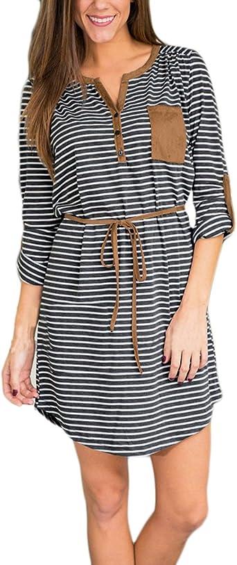 HX fashion Vestido Mujer Elegante S Cortos Flecos Vestidos De Camisa Manga Larga Basic V Cuello Anchas Irregular Asimetricos Moda Bonita Mini Vestido Casual Keider Ropa: Amazon.es: Ropa y accesorios