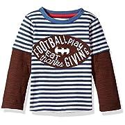 Mud Pie Baby Toddler Boys' Thanksgiving Football Game Time Long Sleeve Raglan T-Shirt, Brown, SM/12-24 Mos