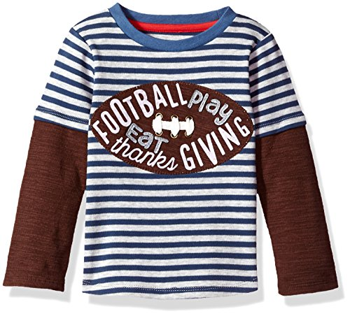 Mud Pie Baby Boys' Toddler Thanksgiving Football Game Time Long Sleeve Raglan T-Shirt, Brown, MED/ 2T-3T Boys Long Sleeved Twill Shirt