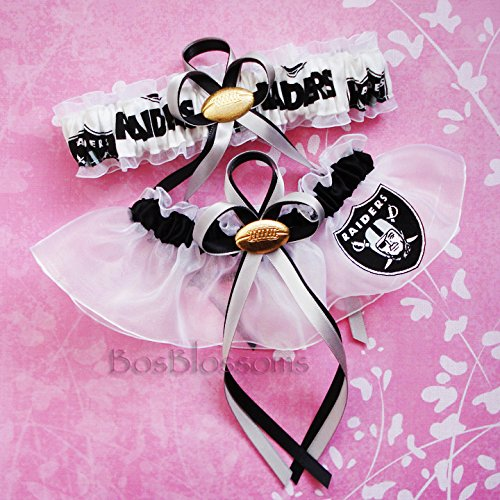 Customizable - Oakland Raiders fabric handmade into bridal prom white organza wedding garter set with football charm by BOYX Designs