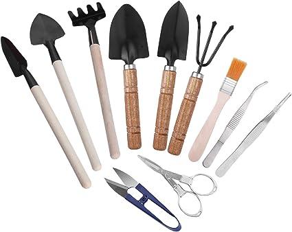 Amazon Com Sanlykate 11 Pcs Bonsai Tool Kit Basic Trimmer Set Include Pruner Fold Scissors Tweezer Spades And Rake Cleaning Brush Garden Outdoor