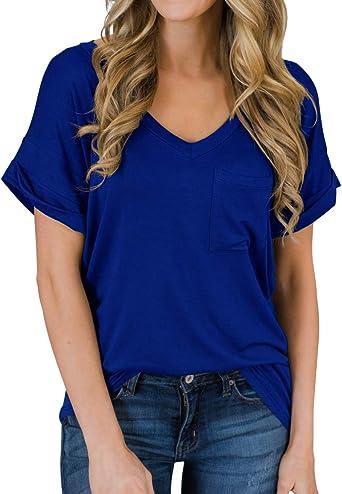 PrinStory Women's Casual Tops Short Sleeve V-Neck Shirts Loose Blouse Basic Tee T-Shirt