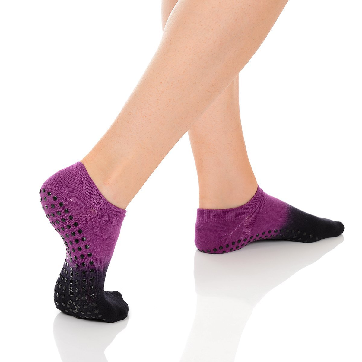 Great Soles Ombre Dyed Grip Socks for Women - Non Slip Yoga Socks for Pilates, Barre, Ballet (Berry/Black) by Great Soles (Image #5)