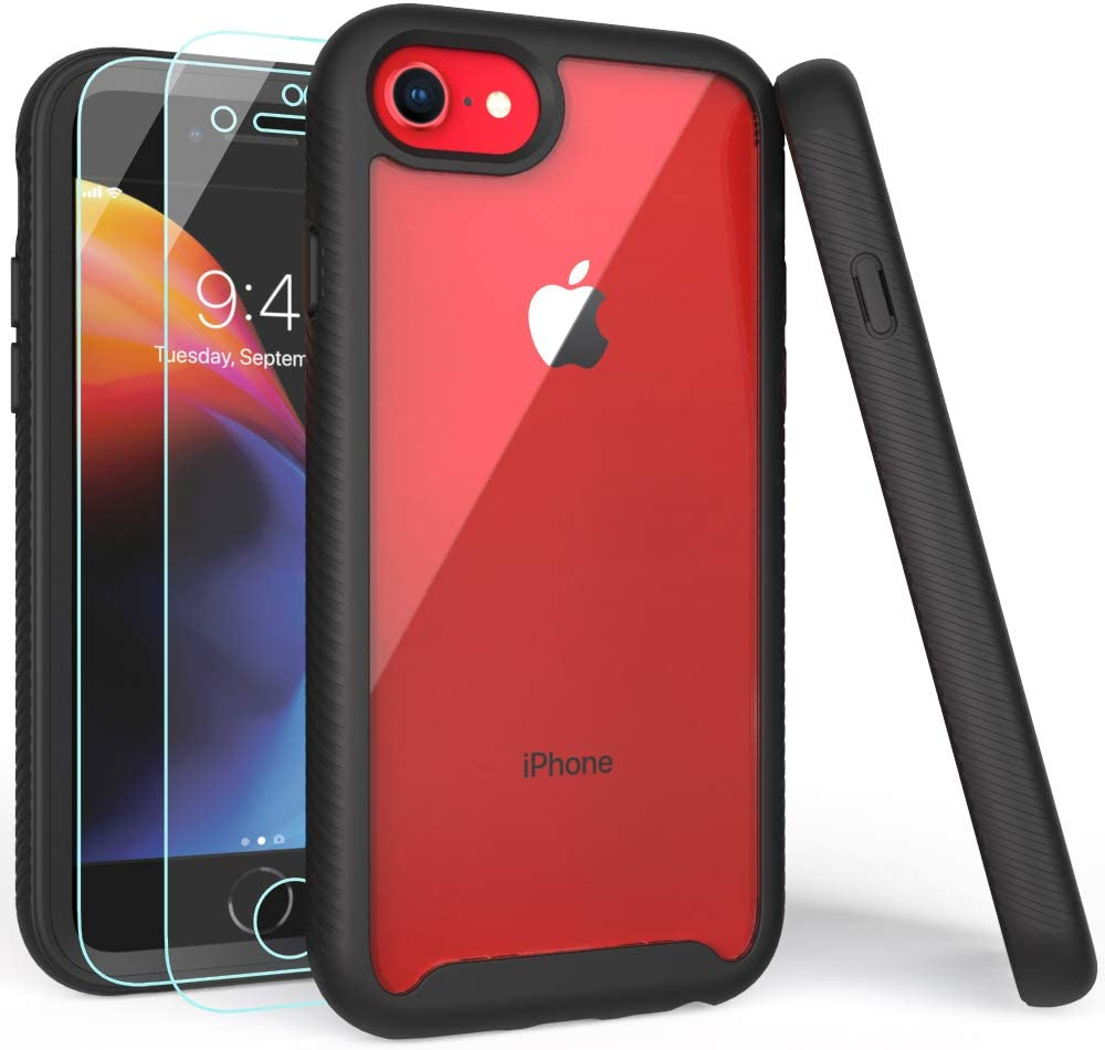 iPhone SE 2020 Case, iPhone 8 Case, iPhone 7 Case with Screen Protector, Shockproof Clear Multicolor Series Bumper Cover for 4.7 Inch iPhone 6/6s/7/8/SE 2020-Black