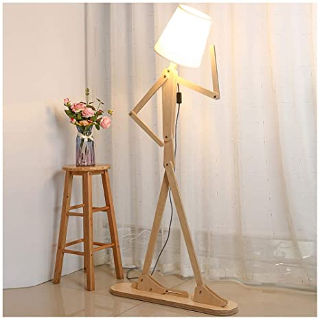 Hroome Modern Tall Wood Floor Lamp Standing Floor Lamps Adjustable Arm Art Design Diy Assembly Contemporary Decorative 5ft Cool Lights For Reading