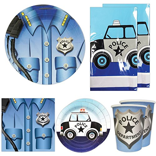 [Police Deluxe Party Packs (For 16 Guests), Police Party Supplies, Police Car Birthday, Decorations] (Police Chief Child Hat)