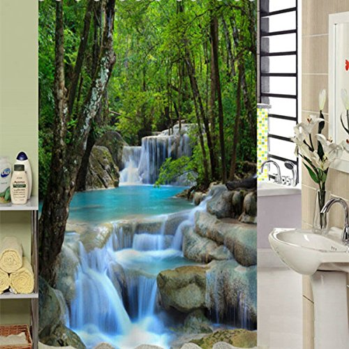 """Fabric Decor Shower Curtain 3D Vivid Nature Beauty Waterproof Waterfall Forest 72"""" x 78"""" Bathroom Shower Curtain Set with 12pcs Hooks"""