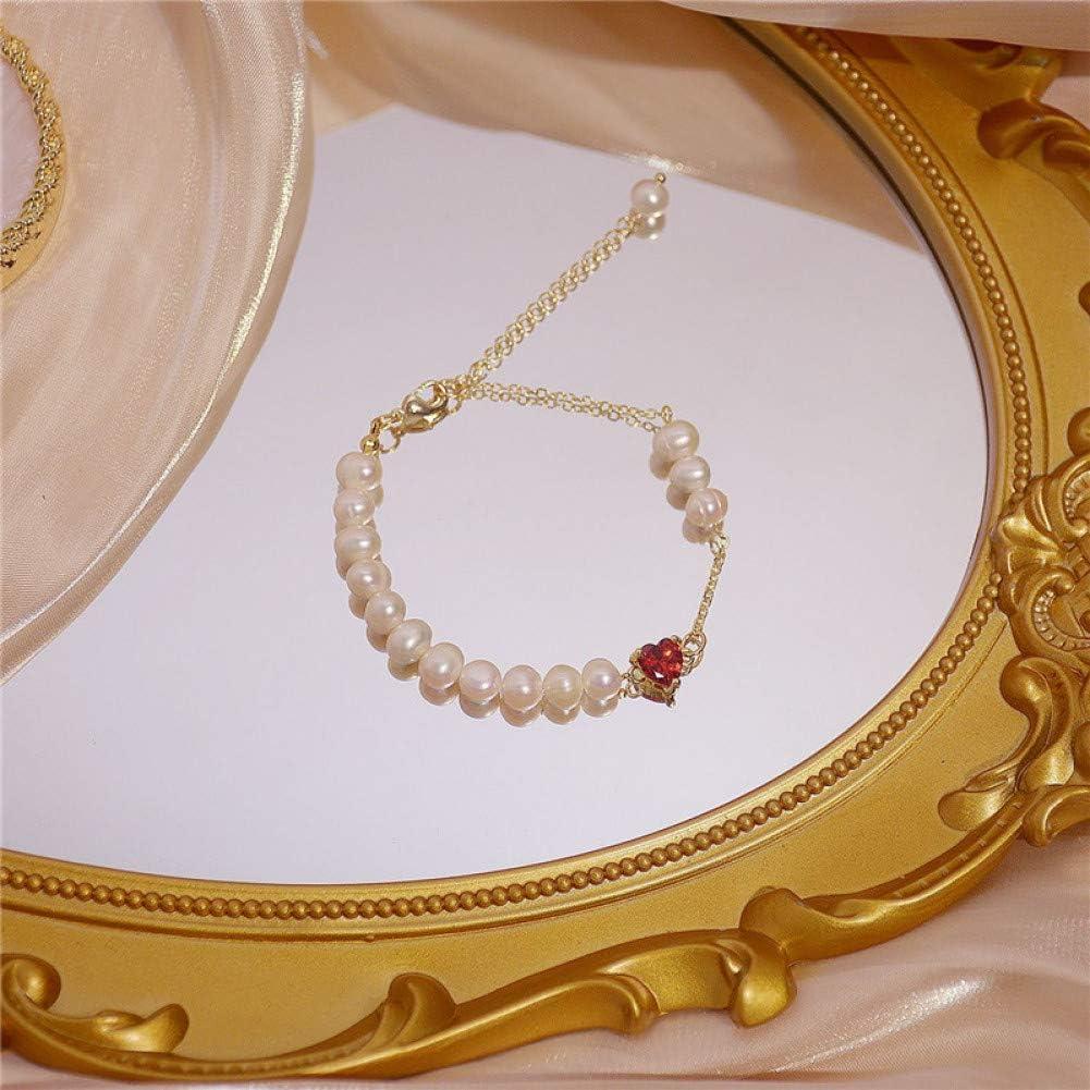 MEAOR Perla de Agua Dulce Natural circón Rojo Amor Pulsera afortunada para MujerCadena de OroBrazaletePulsera Regalo de joyería