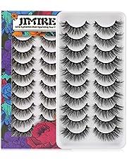 JIMIRE 10 Pairs Fake Eyelashes Fluffy Natural False Lashes Cat-Eye Lashes Pack