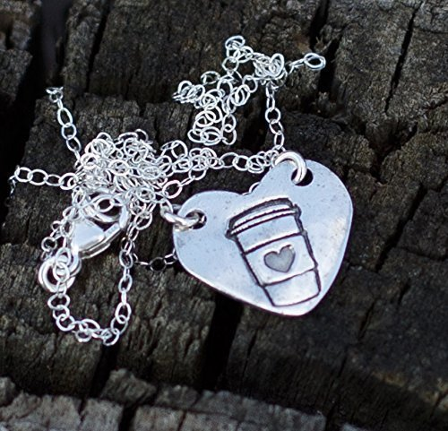 Coffee necklace latte cappuccino Lover charm Sterling Silver Jewelry Gift for women 16 inch