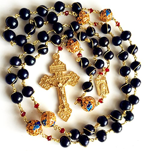 elegantmedical HANDMADE plated 14K gold Wire Wraped Bead AAA Black 10mm Pearl Rosary Cross NECKLACE BOX by elegantmedical (Image #3)
