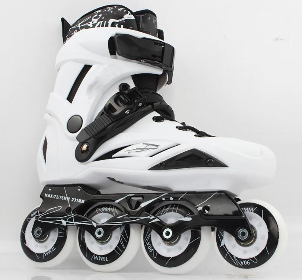 Inline Skates For Men Unisex Racing PP Material 90A High elasticity Wheels White , 40